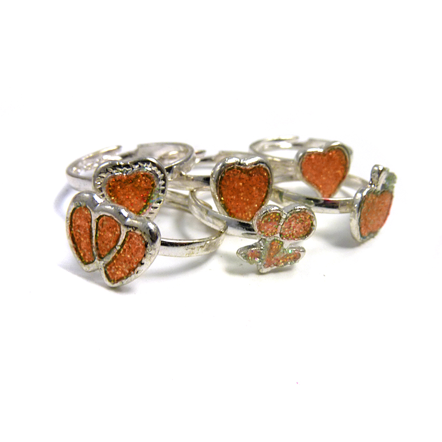 6 x Sparkly Fruit Ring Orange