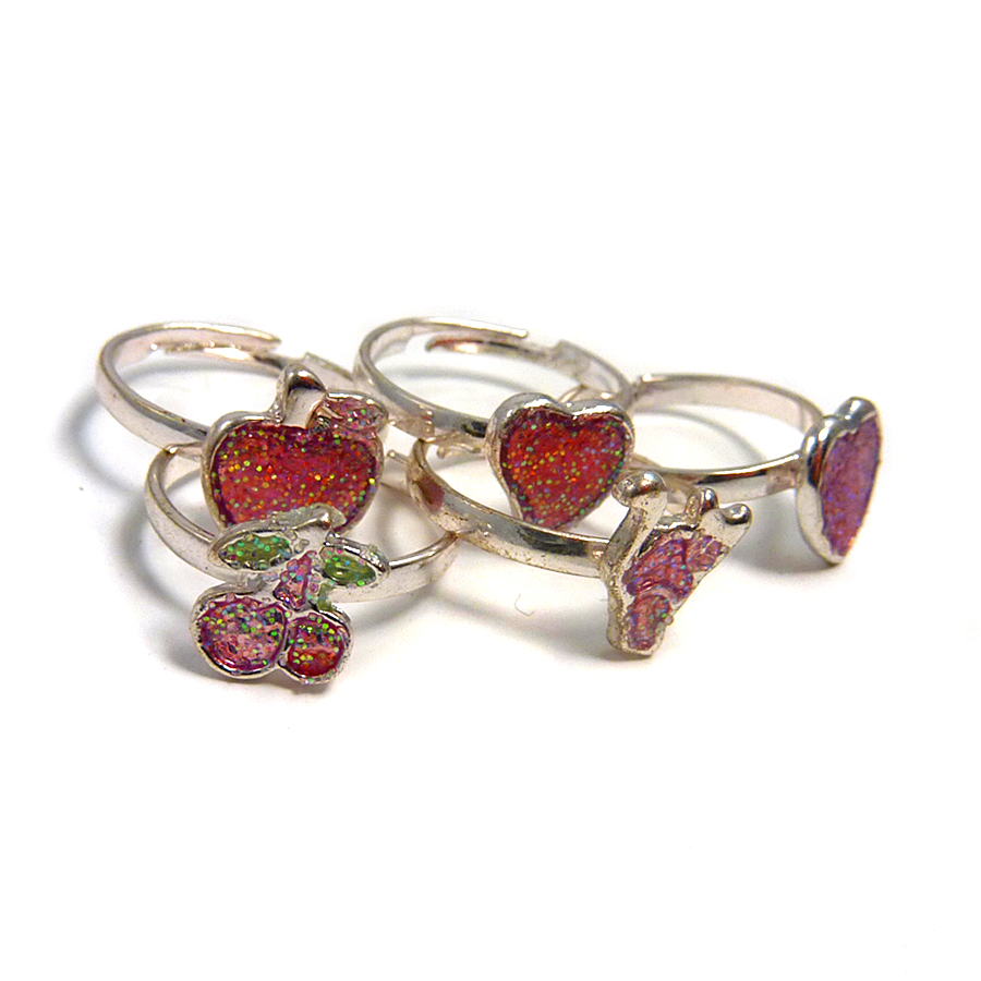 6 x Sparkly Fruit Ring Pink